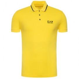 ARMANI EA7 Polo in jersey di cotone stretch con logo 8NPF06 Giallo