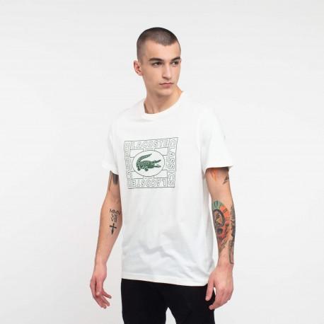 LACOSTE T-shirt da uomo coccodrillo stampato  TH5097  Bianco/Verde