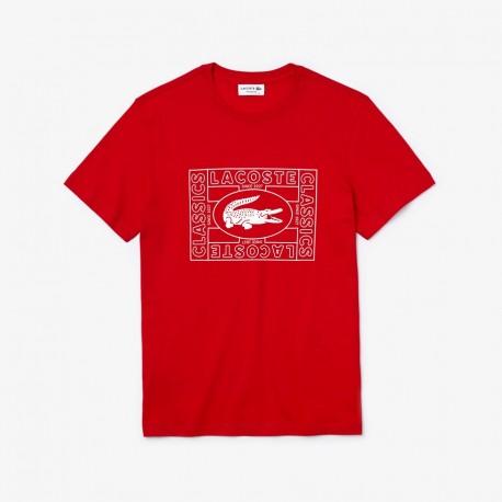 LACOSTE  T-shirt da uomo coccodrillo stampato ROSSO TH5097