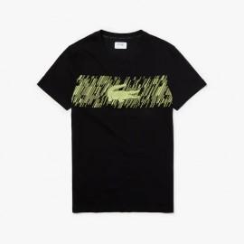 LACOSTE T-shirt Uomo TH3496 Nero/Giallo Fluo