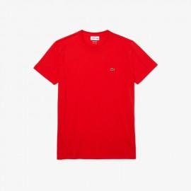 Lacoste T-shirt a girocollo in jersey di cotone Pima tinta unita Aragosta