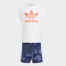 ADIDAS COMPLETO CAMO PRINT SHORTS AND TEE GN4123 WHITE