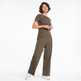 PUMA HER Pantaloni larghi donna a coste 589525 Militare